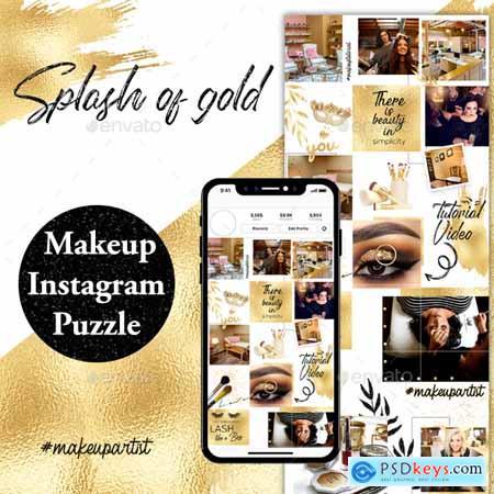 Splash of Gold Instagram Puzzle Template 24251070