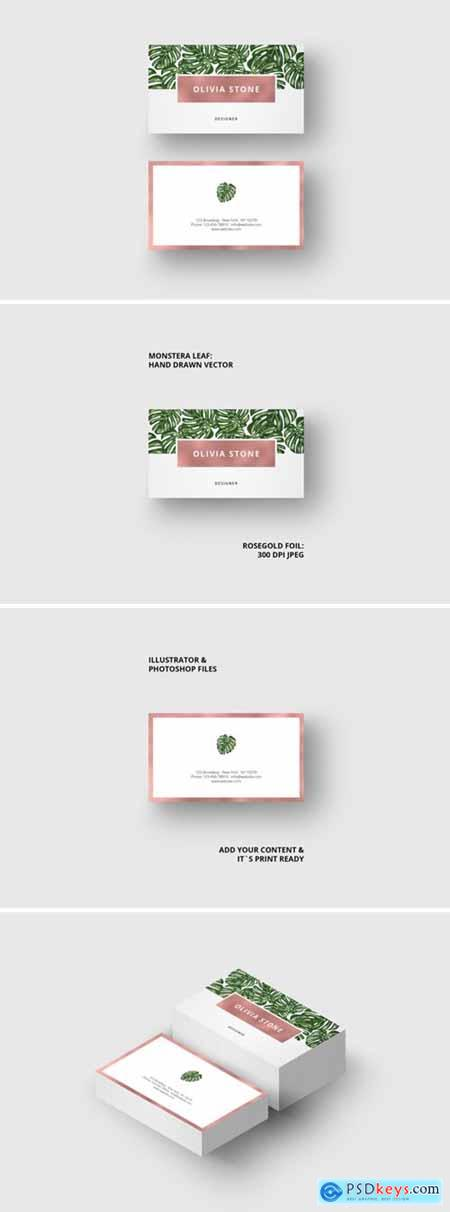 Business Card Monstera & Rosegold 1633635