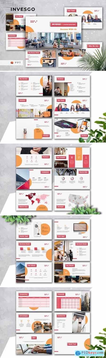 INVESGO - Startup Pitch Deck Powerpoint, Keynote and Google Slides Templates