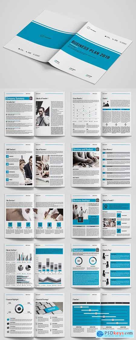 Business Plan Layout with Blue Accents 225525365