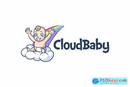 Cartoon Cute Baby On Cloud and Rainbow