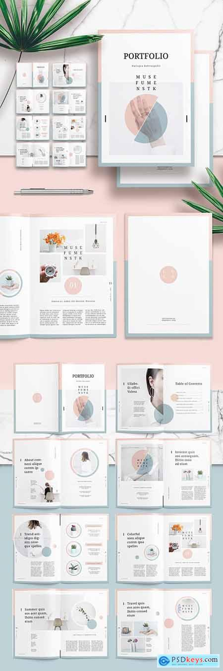 Portfolio or Lookbook Layout with Pink and Green Accents 250731415