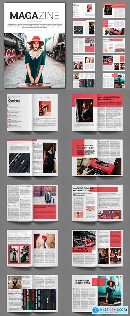 Magazine Layout with Red Accents 248958729