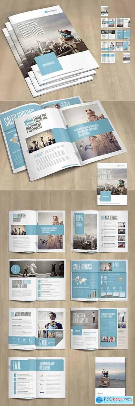 Business Brochure Layout with Pale Blue and Gray Accents 253591704