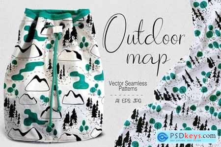 Outdoor map seamless patterns