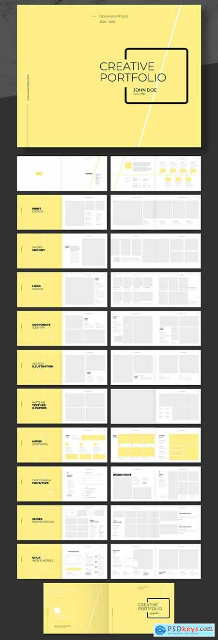 Personal and Agency Portfolio Layout with Yellow Accents 240018830