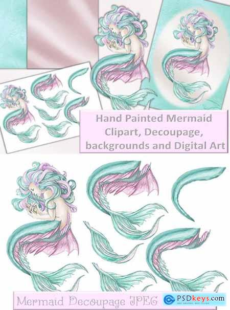 Mermaid Clipart and Printables Decoupage
