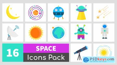 Videohive 16 Animated Space Icons Pack 24350877