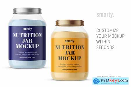 Transparent nutrition jar mockup 3446374
