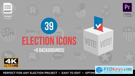 Videohive Flat USA Election Icons MOGRT for Premiere Pro 24478478