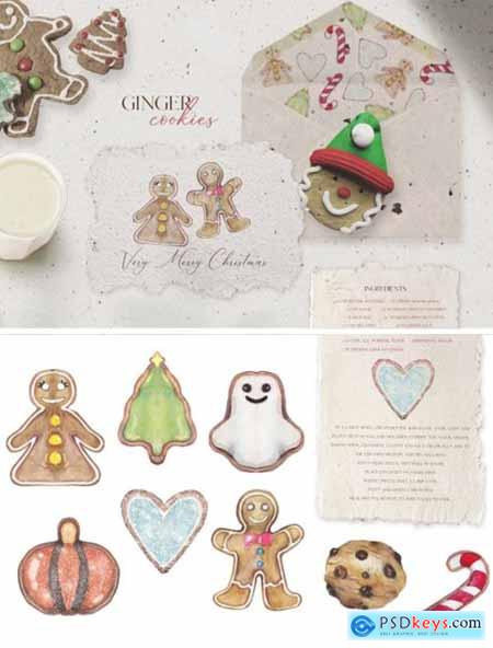 8 Gingerbread Cookies in Watercolor 1738213