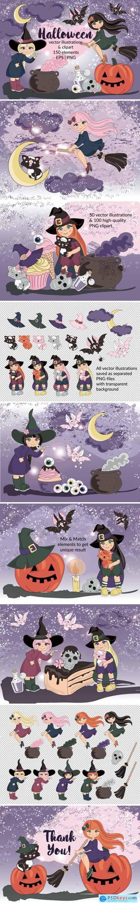 HALLOWEEN Clipart & Digital Print Set Color Vector Illustration 618149