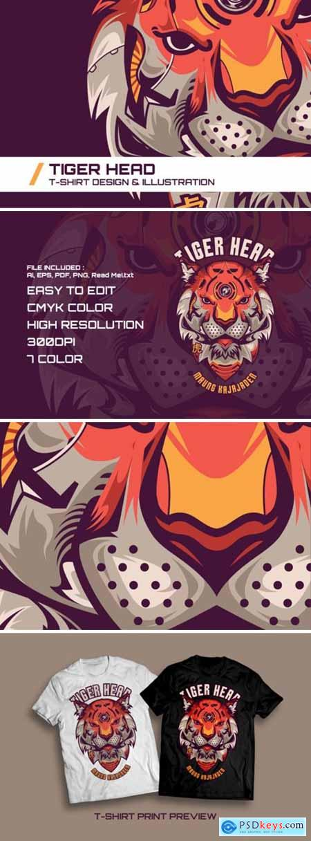 Creativemarket Tiger Head T-Shirt Illustration 1738077