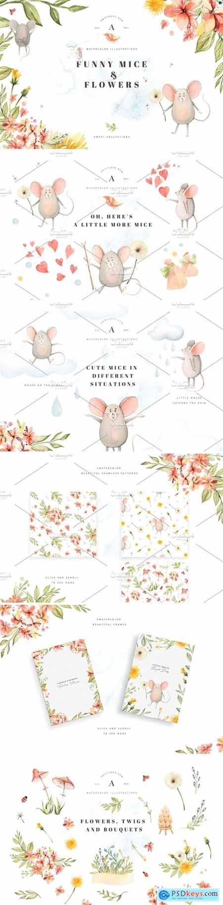Funny Little Mice & Flowers 3774621