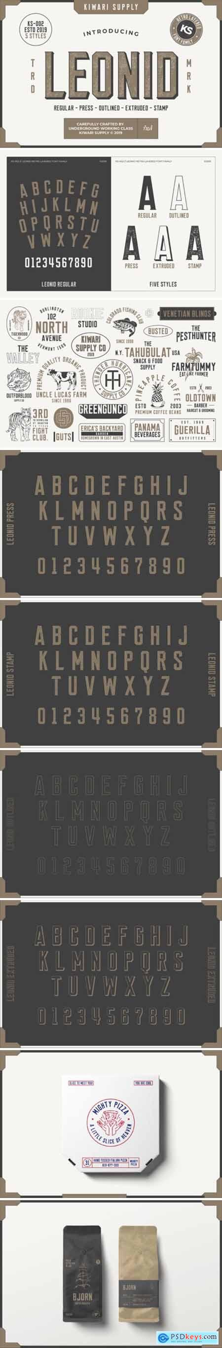 Leonid Retro Layered Font Pack 297167