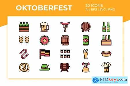 Oktoberfest Icon Set (Filled Color)