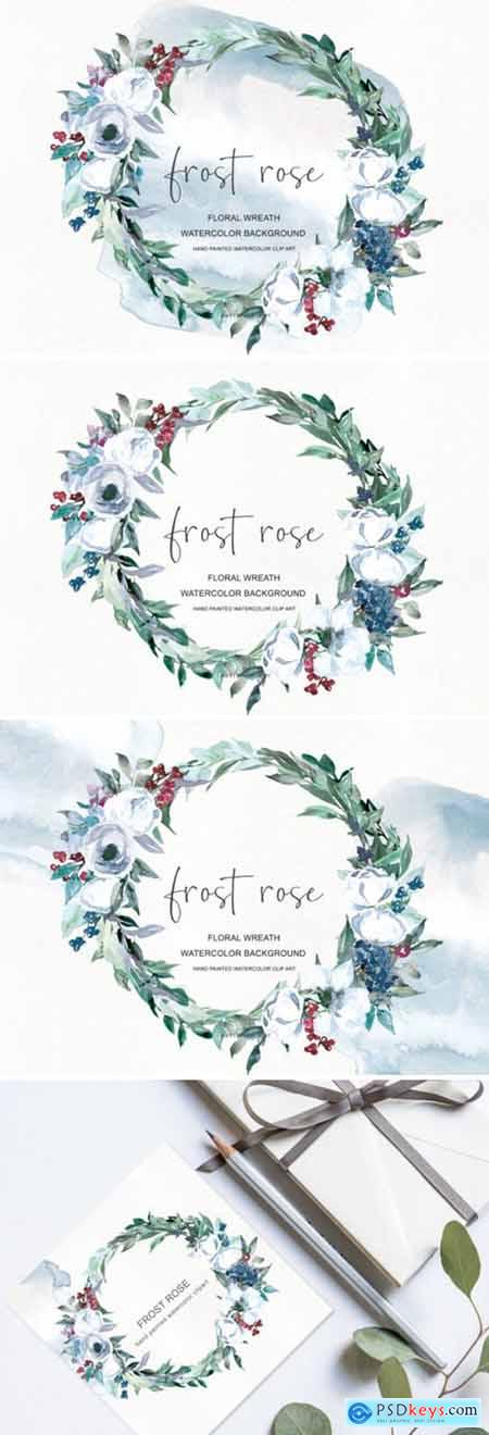 Watercolor White Rose Wreath Clipart 1585431