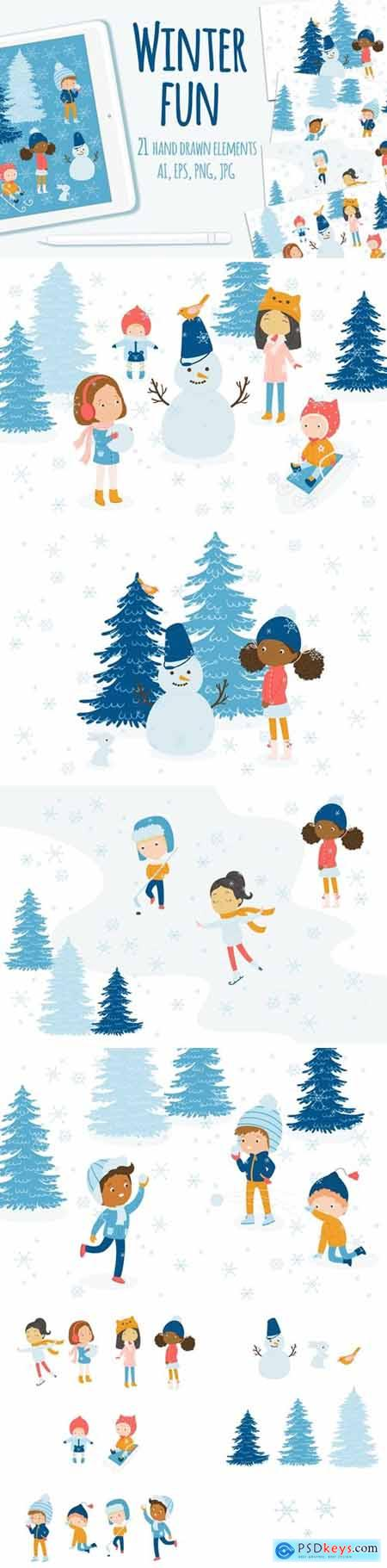 Winter Fun Vector Graphic Set