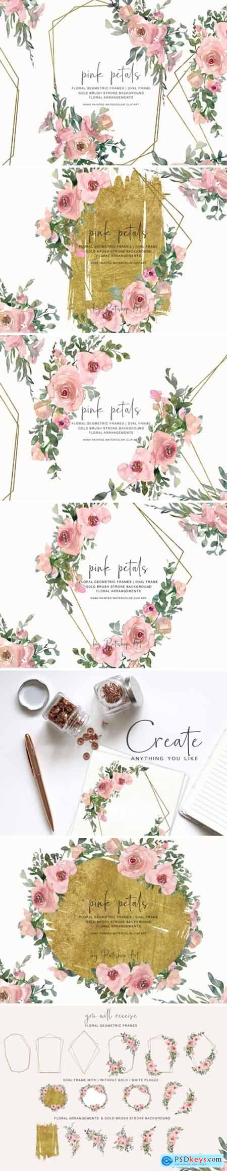 Watercolor Pink Gold Floral Frame Set 1585483