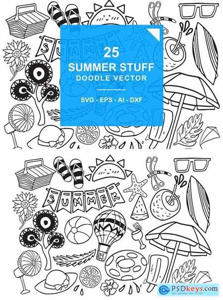 Summer Stuff Doodle Vector