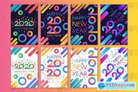 Modern Happy 2020 New Year Banners Set