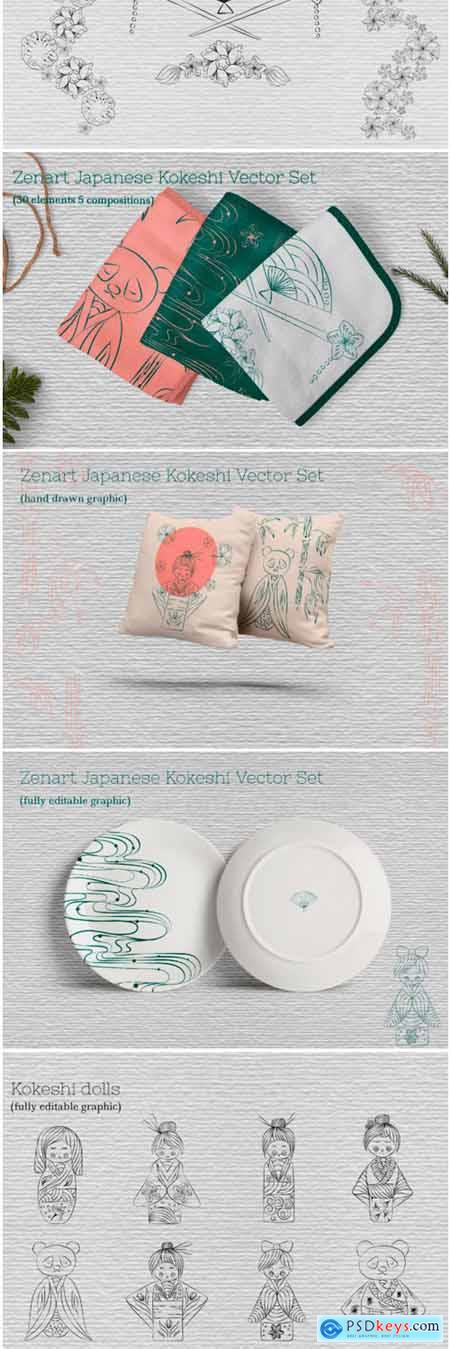 Zenart Japanese Kokeshi Vector Set 1742848