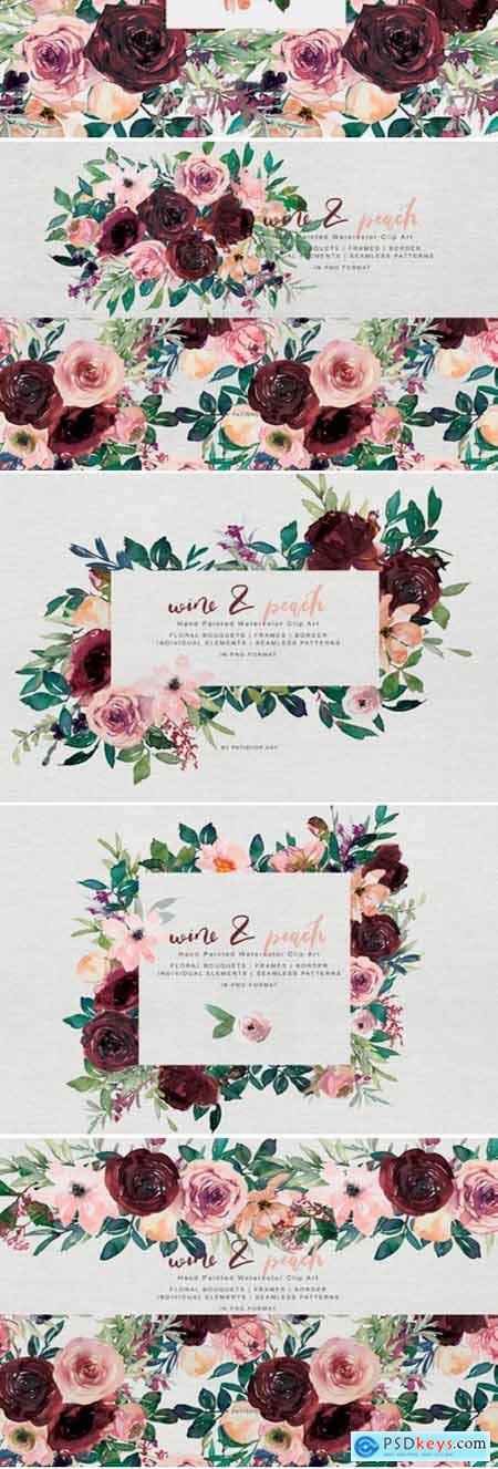 Wine and Peach Floral Bouquet Clipart 1743239
