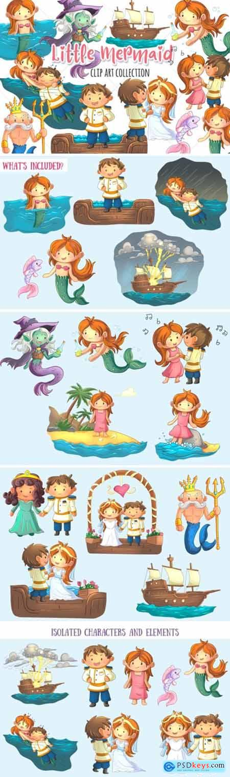 Little Mermaid Clip Art Collection 1745068