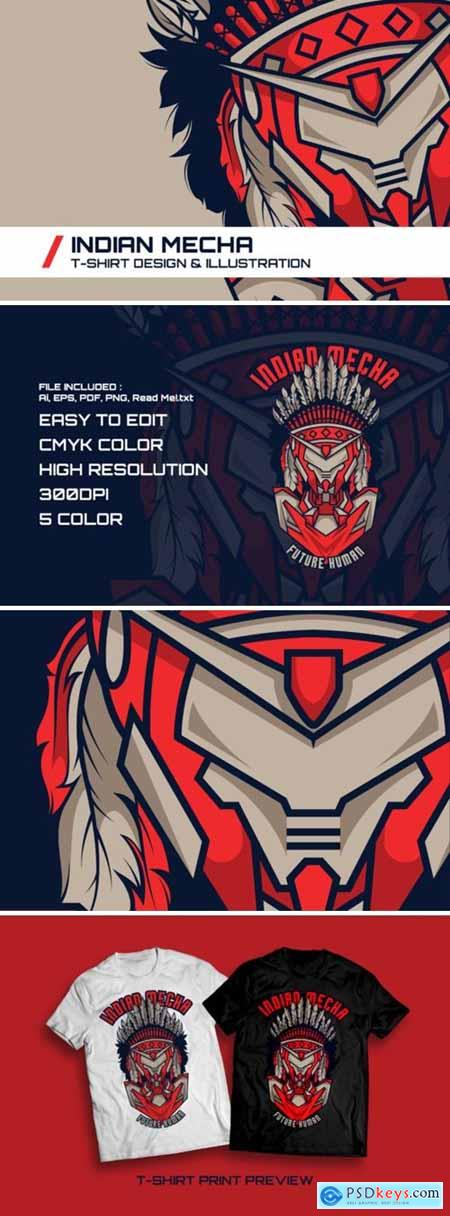 Indian Mecha T-Shirt Illustration 1745111