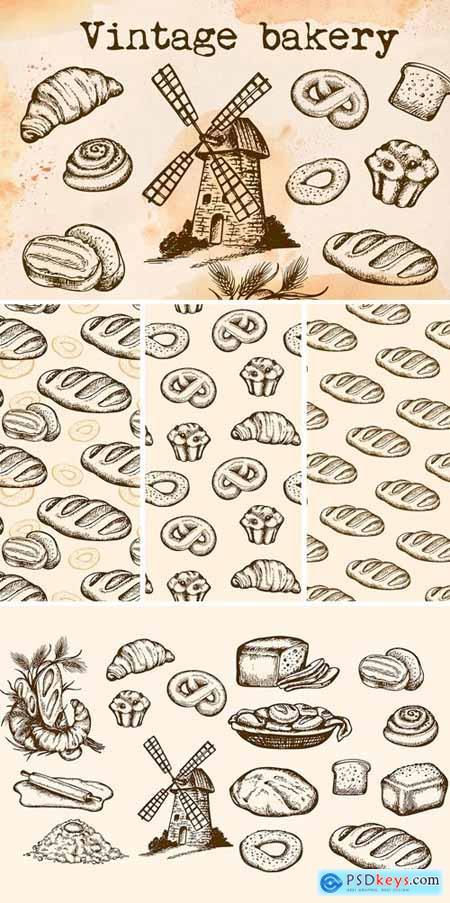 Set of Vintage Bakery