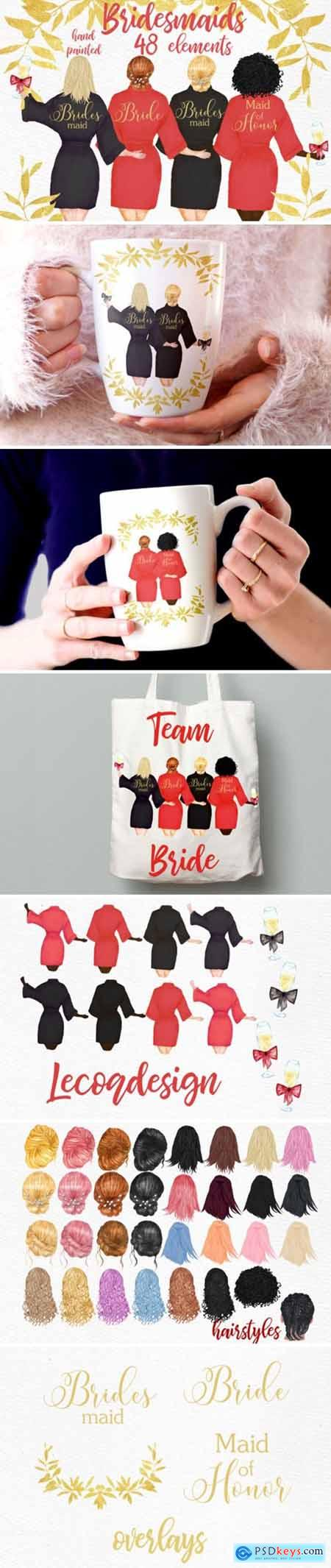 Bridesmaid Wedding Robes Clipart 1748843