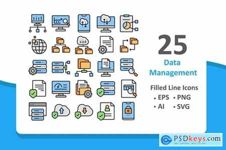 25 Data Management Icons - Filled Line