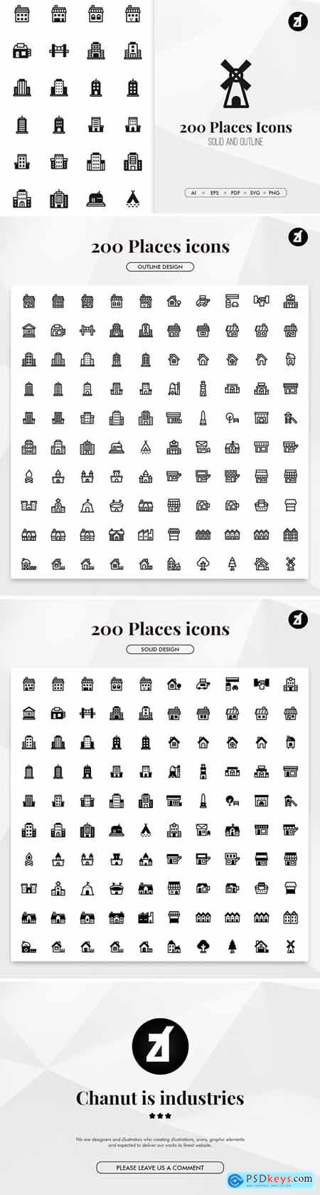200 Places and buildings minimal icons