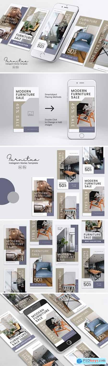 Furniture Instagram Stories PSD & AI Template