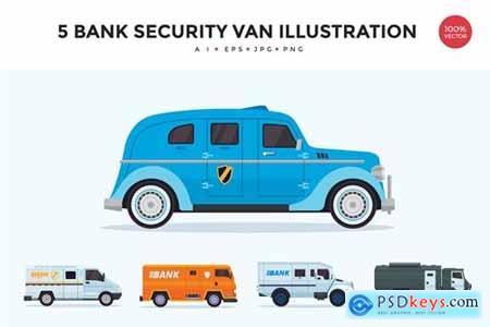 5 Bank Security Vehicle Vector Illustration Set
