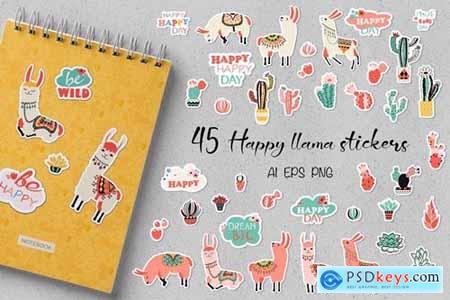 Happy Llama Stickers