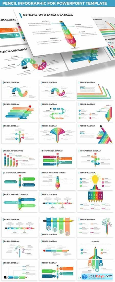 Pencil Infographic for Powerpoint Template