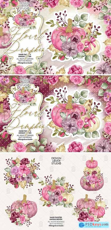 Watercolor Floral Pumpkin 2 clip arts