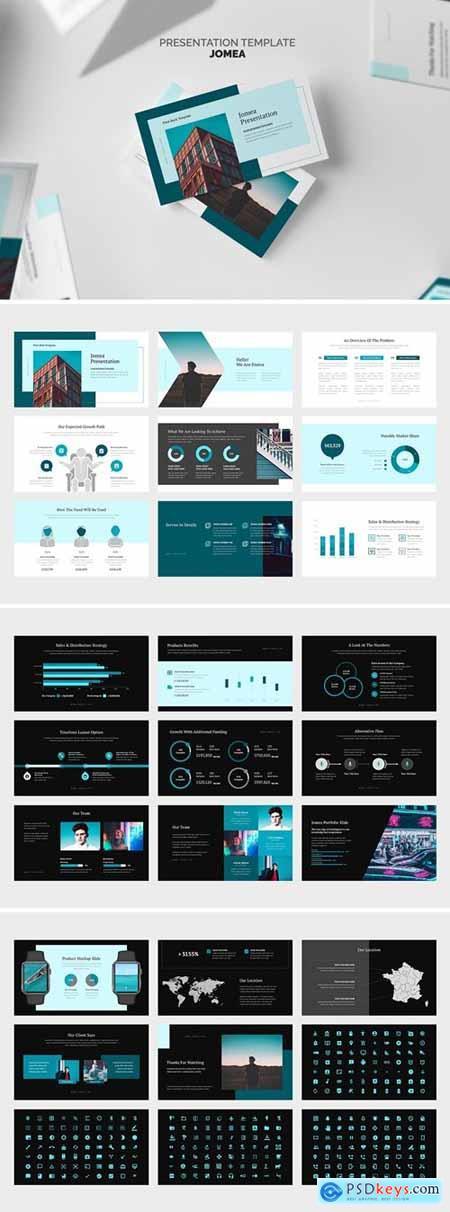 Jomea Cyan Color Tone Pitch Deck Powerpoint