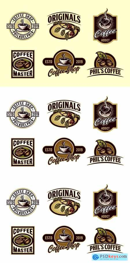 Vintage Set of Coffee Emblem and Badge