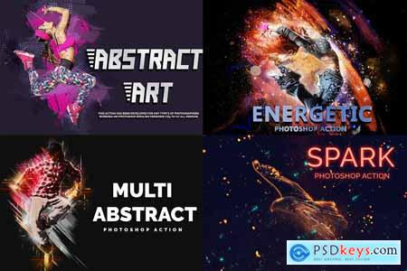 4 in 1 Abstract Art Photoshop Action 4046990