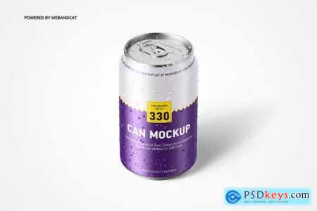 330ml Can Mockup with Water Droplets