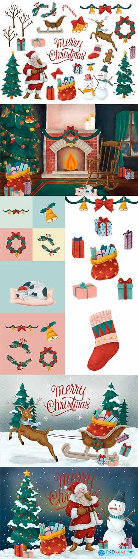 Set of Merry Christmas Hand Drawn Card and Illustrations