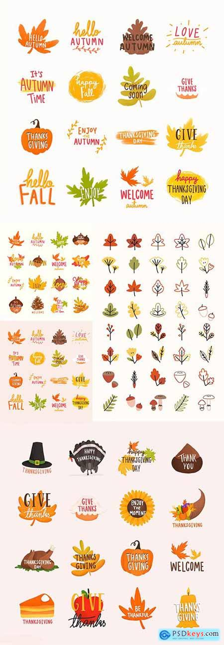 Set of Autumn or Fall Illustrations and Colorful leaves Collection