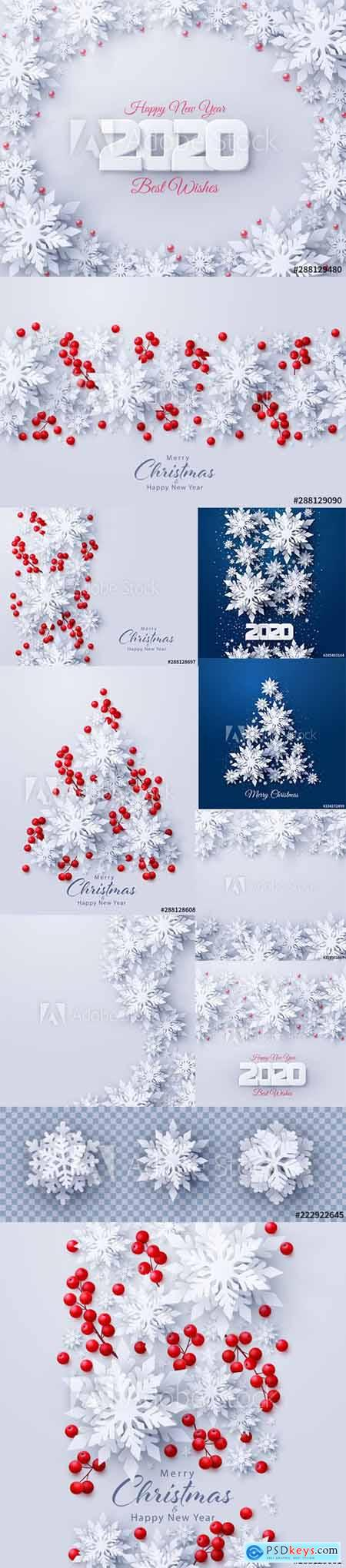 Vector set of New Year 2020 and Christmas Design Backgrounds Vol1