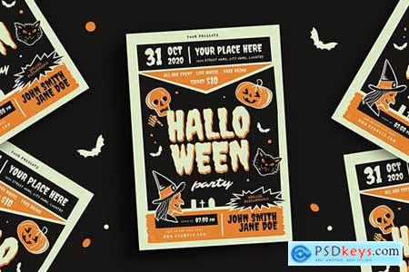 Retro Halloween Party Flyer YMV97H6
