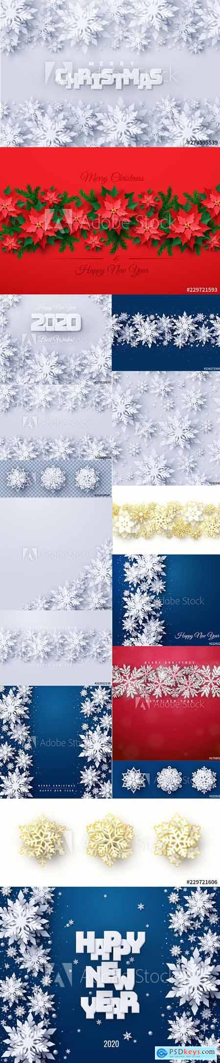 Vector set of New Year 2020 and Christmas Design Backgrounds Vol3