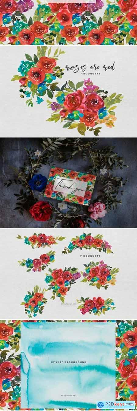Watercolor Red Roses Bouquet Clipart 1761945
