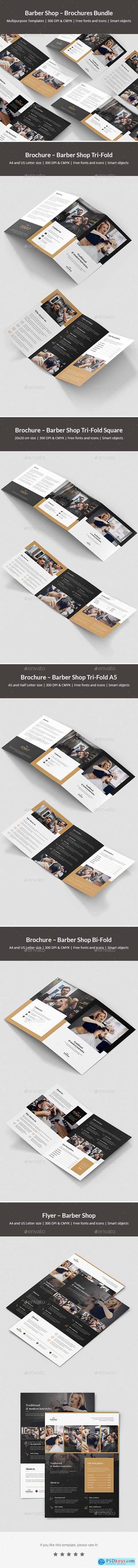 Barber Shop – Brochures Bundle Print Templates 5 in 1 24036407