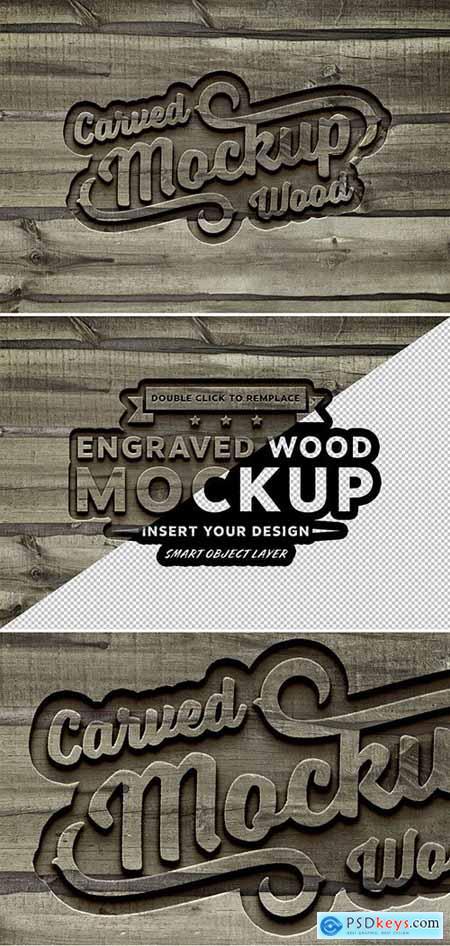 Carved Wood Effect Mockup 288732907